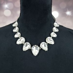 Clear Teardrop Crystal Gem Rhinestone Necklace